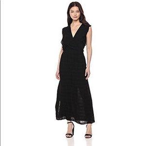 Michael Stars plisse ruffle maxi dress black